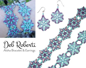 Aloha Bracelet and Earrings beaded pattern tutorial by Deb Roberti