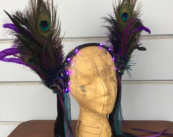 Black and purple feather headdress - glow in the dark LED headpiece - unique light up burlesque headdress - feather fascinator headdress