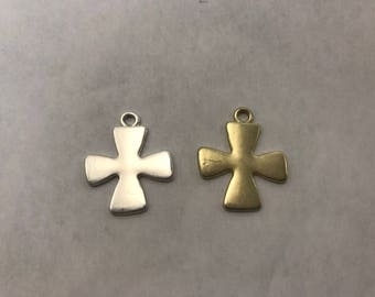 23x28mm matte cross, vintage design pewter  pendant, charm finding, 11pcs in a bag