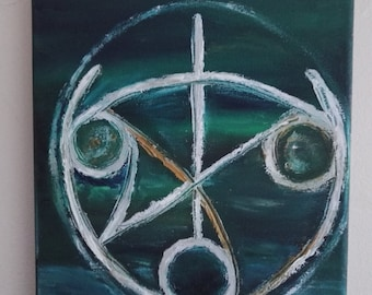 WELL-BEING Orenda Symbol paintin, oil finger painting on streched canvas