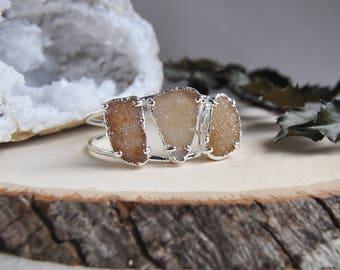 Silver Druzy Cuff, Triple Stone Cuff, Raw Stone Cuff, Silver Quartz Cuff, Silver Cuff, Silver Bracelet, Gifts for her, Statement Cuff, Boho