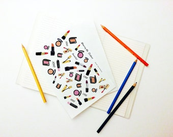Wearing Me Series Set, Lipstick Stickers, Lipstick, Red, Wearing Me Series, Comsetic, Make up Stickers, Beauty, Weekly Planner Sticker