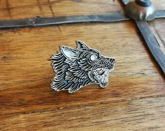 Grim Hound, Wolf Enamel Lapel Pin | High Polish, Enamel & Silver Plated