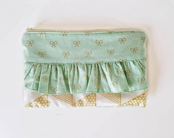 Ruffle clutch, clutch, handbag, zipper bag, small purse, mint and gold bag, coin purse, pencil case, gift for her, fabric clutch, bow bag