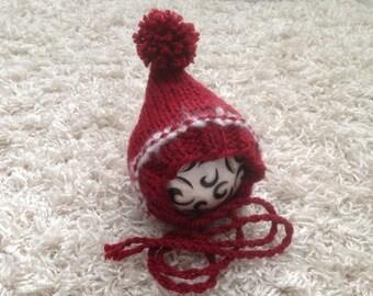 Newborn knit pixie style pompom christmas theme photo prop baby gift