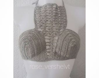 Silver Crochet Crop Top, aSummer Top Extra Small
