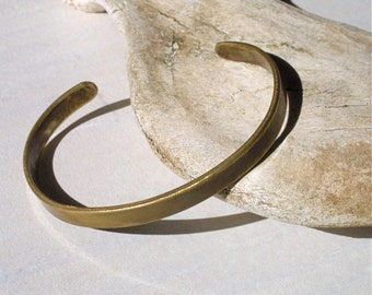 Mens Rustic and Tarnished Slender Brass Cuff Bracelet