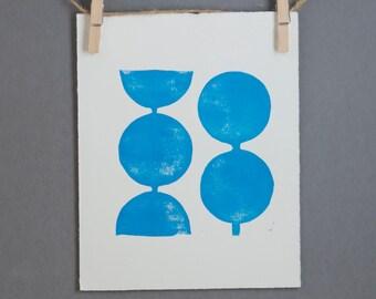 Modern Decor Geometric Circles in Light Blue Linocut Art Print 8x10 Polka dot
