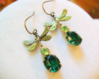 Green Dragonfly Earrings ~ Vintage Glass ~  Small Dangles ~ by LadyofTheLakesJewels