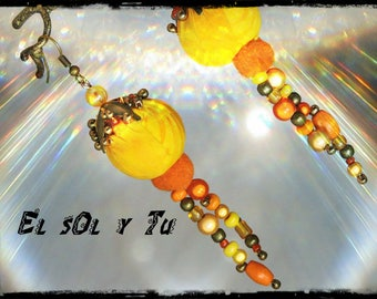 Earrings EL SOL Y TU - fabric (batik) shades of yellow - orange tassel and beads, glass, wood and metal