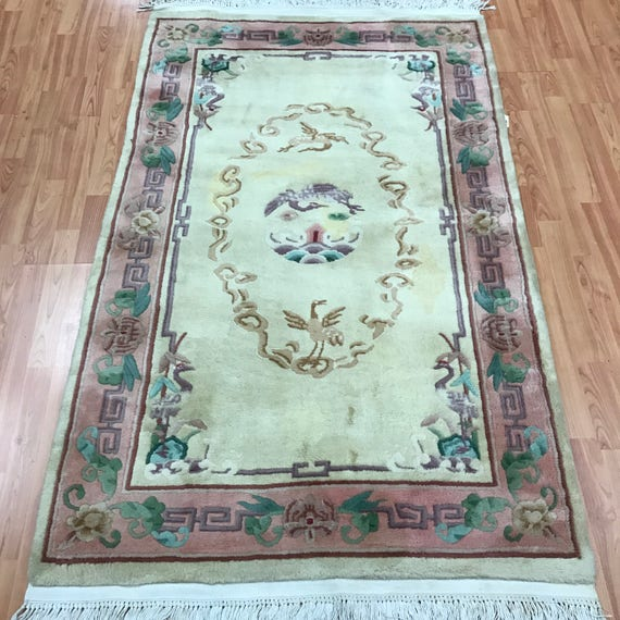 """3'7"""" x 5'8"""" Chinese Aubusson Oriental Rug - Hand Made - 100% Wool"""