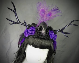 "Purple Love ""Antlers and catskull headpiece in purple black with peacock feathers, unique Paganheadpiece"