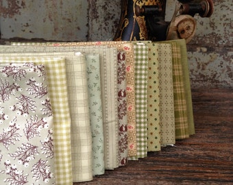 Fabric: FAT QUARTER Sampler Bundle Shades of Green Selection - Lecien/Windham/Marcus Fabrics