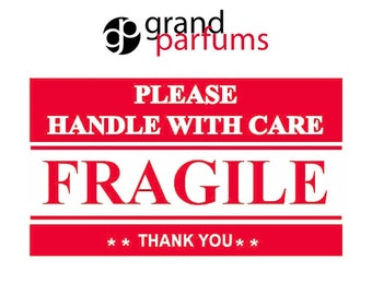 """100 FRAGILE, Handle With Care Stickers Labels Shipping 2"""" x 3"""" Postal Notifications RED and WHITE - Thank You Package Labels"""