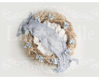 Digital prop/backdrop (Messy nest Baby Blue Floral)