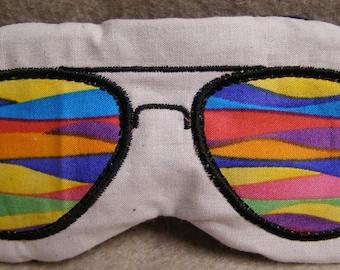 Embroidered Eye Mask for Sleeping, Cute Sleep Mask for Kids or Adults, Sleep Blindfold, Slumber Mask, Sunglasses Design, Rainbow, Handmade