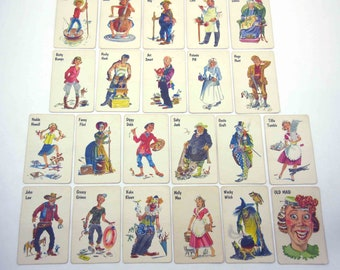 Vintage Whitman Old Maid Children's Playing Cards with Cute Characters Partial Set of 22