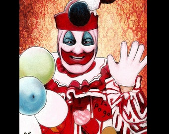"Impression 11 x 14""- John Wayne Gacy - Clown Pogo Serial Killers Dark Art Pop Art horreur ballons True Crime sang Charles Manson mort meurtre rouge"