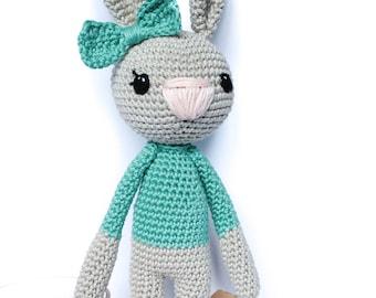 Bunny personalised, easter bunny, bunny rabbit, stuffed animal, amigurumi crochet, nursery decor, bunny baby room decor, cute easter bunny,