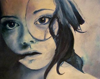 Print of an oil painting - yearning, blue tone