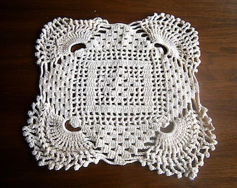 Vintage Hand Crocheted Square Doily / Off White Cotton Doily / Coaster / Table Centerpiece