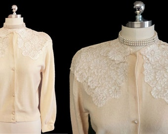 Beautiful & Unique Vintage 1950 Very Feminine Sheer Chantilly Lace Sweater designer sweater lace sweater 1950 sweater cardigan ivory sweater
