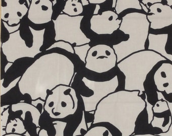 Panda Fabric Japanese Tenugui 'Pile of Pandas' Japanese Cotton Kawaii Fabric Black and White w/Free Insured Shipping