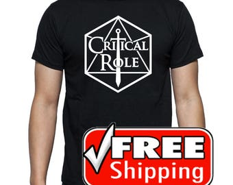 Dungeons and Dragons D and D d20 Critical Role playing game Black Tee T-shirt by Tori's World Tee T-shirt by Tori's World