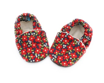 Baby Shoes Red Flowers on Blue Organic Baby Girl 0 3 6 12 18 months Floral Print Shoes / Booties Eco Friendly Organic Cotton
