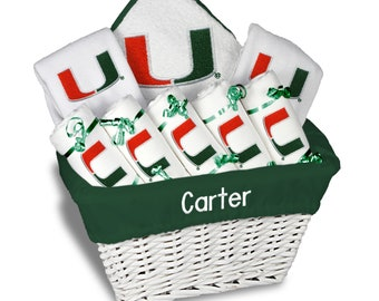 Personalized Miami Hurricanes Baby Girl Gift Basket - 2 Bibs, 5 Burp Cloths, Towel Set - Large