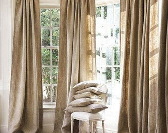 100 % Natural Jute Burlap Panel Drape Backdrop Window Curtains - Made in USA