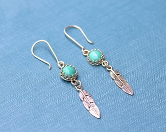 Turquoise Feather Earrings, Sterling silver Feather, Indian Inspired, Native American Jewelry, Turquoise Earrings, Crown Earrings, turquoise