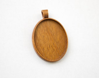 Large fine craftsmanship hardwood pendant blank - Mahogany - 36 x 46 mm - Oval - (A1c-M) - Organic bail