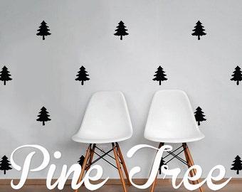 Pine Trees Wall Decal Pack, Modern Geometric Pattern Vinyl Wall Stickers WAL-2227