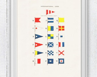 Nautical code flags -Wall decor poster-  sea life print- Nautical Yatching poster NTC042