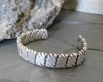 Man's heavy sterling silver cuff bracelet, flexible, marked 925, vintage, men's, 52.9 grams