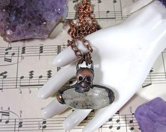 Small SPRING CLEAN SALE Skull Quartz Copper Electroformed Necklace | Memento Mori | One of a Kind | Goth