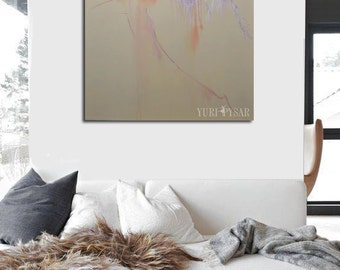 Abstract GICLEE print of painting, Contemporary art, Pastel wall art print, Canvas print Gift for her