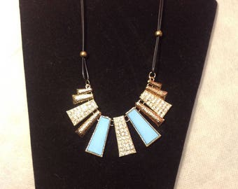 Vegan leather rope and glitzy flat sparkle and turquoise blue statement necklace