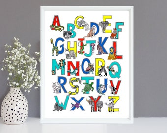Illustrated Animal Alphabet Limited Edition Giclee Print 40x50cm- Nursery Art/ Nursery Decor/ New Baby Gift