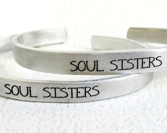 Soul Sisters Cuff Bracelets - Set of 2 - Best Friends BFF Besties Forever