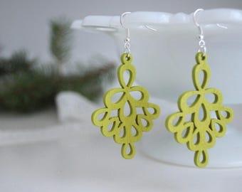 Laser Cut Earrings, Lime Green Wood Earrings, Wooden Earrings, Lightweight Earrings, Green Earrings, Spring Earrings, Gift for Mom, Popular