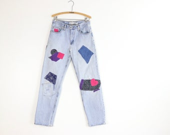 RESERVED** Vintage Patched Jeans / 90's ABERCROMBIE Mom Jeans / Patchwork Relaxed Denim / Sz 30