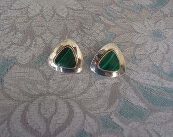 Southwestern Sterling Silver Malachite Gemstone Triangle Shape Pierced Post Earrings, 4 Grams, Estate Jewelry