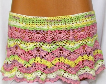 Mini Skirt Crochet Beach,Beach Pareo,crocheted exercise skirt, crochet  skirt,Sexy crochet skirt