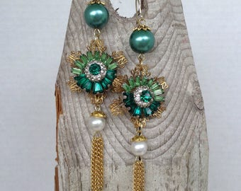 Emerald green rhinestone tassel earrings