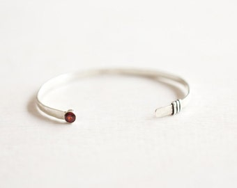 Sterling Silver and Garnet bracelet / Garnet Cuff / January Birthstone Bracelet/ garnet jewelry/ gift for her/ handmade bracelet