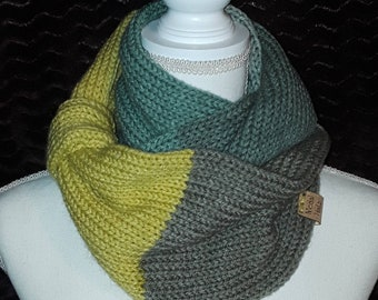 Green aqua gray infinity scarf