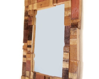 Mirrage, Large Wall Mirror recycled oak wine barrel staves, wood