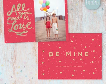 Valentines Day Card - Photoshop template - AV022- Instant Download
